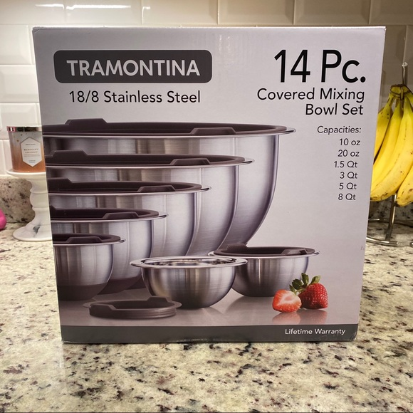 Tramontina Other - Tramontina stainless steel covered mixing bowl set